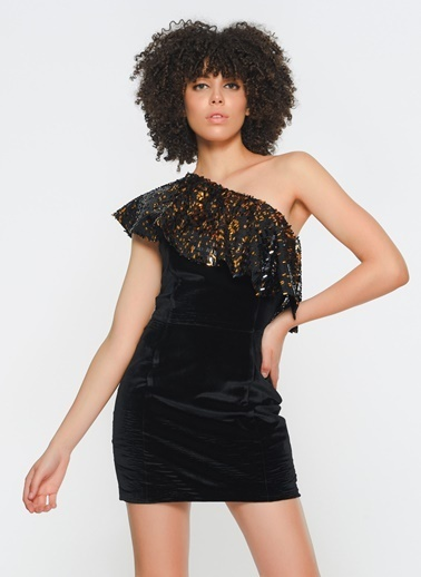 Zeynep Ökmen Tek Omuzlu Omzunda Volan Detaylı Mini Elbise Siyah